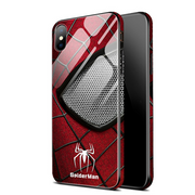 Superhero Ironman Spiderman Shockproof Phone Case Back Glass Cover for iPhone