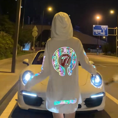 Summer Laser Magic Luminous Effect Hooded Sun Protection Clothing, Sweater Perspective White Disco Sunscreen Coat