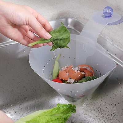 2 PCS Reusable Plastic Dismountable Cone Leaking Baskets Suction Cup Kitchen Sundries Storage Drain Funnel