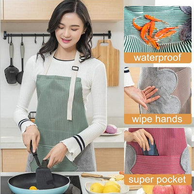 Pack of 2 PCS Stripe Sleeveless Apron Waterproof Cotton Kitchen Adult Dress Kitchen Cook Apron With Pockets Halter Bib Kitchen Towel