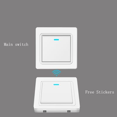 WiFi Smart Light Switch Remote Controller,  86 Type ON/Off Switch Panel,  315 Mhz Wireless RF Remote Control Transmitter with Stickers Free Position Flexible for Home, Living Room, and Bedroom