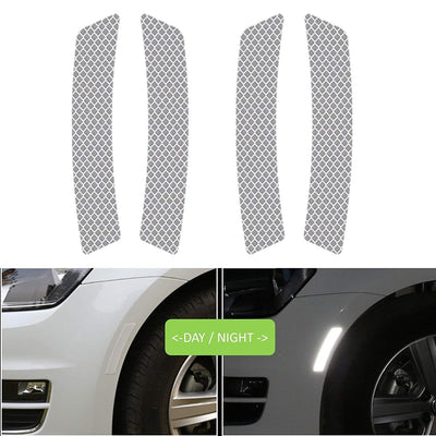 2Pcs Side Wheel Reflective Stickers, Caution Warning Safety Reflector Anti-Collision Strip