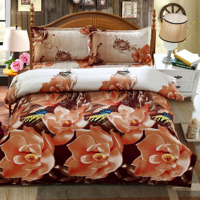 4 Pcs Romantic Flower Printed 3D Sanding Comfortable Bedding Sets