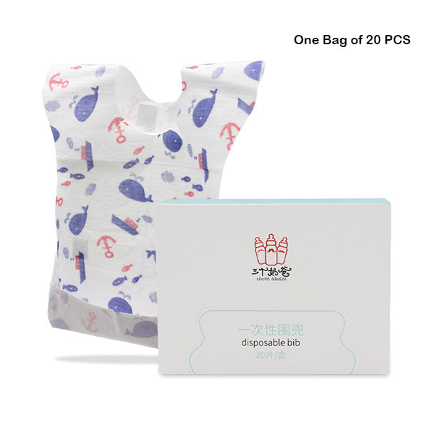 Baby and Infant Disposable Paper Bibs Leak-proof Feeding Travel Bibs One Box of 20 PCS