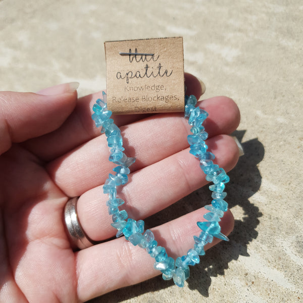 Light blue Apatite chip bracelet