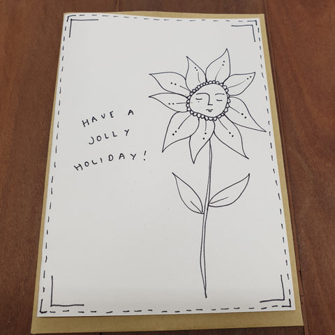 Have a Jolly Holiday - Hand Drawn Card - Eat More Flowers