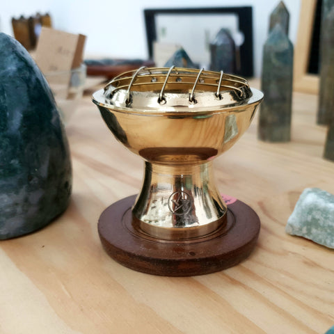 Small Brass charcoal burner with pentagram and wooden base