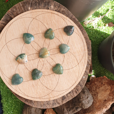 Moss Agate Heart ▪︎ Mini