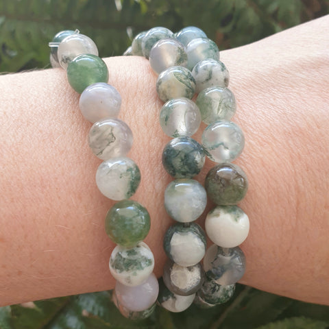 Moss Agate round bead bracelet - 8mm