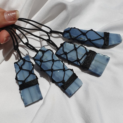 Blue Opal Macrame Necklace