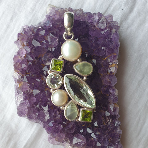 Greens and Pearl Mixed Gemstone Pendant - Unique