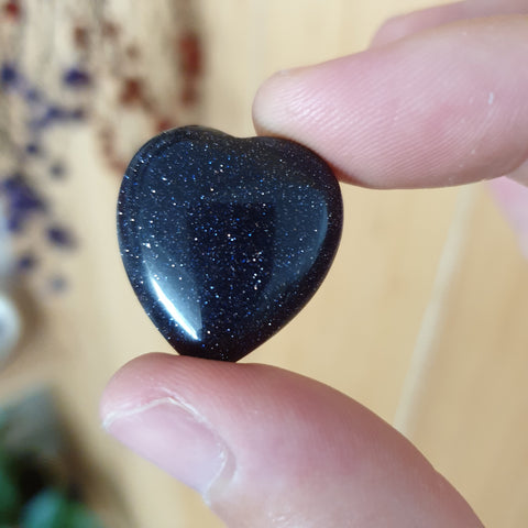Blue Goldstone Mini heart
