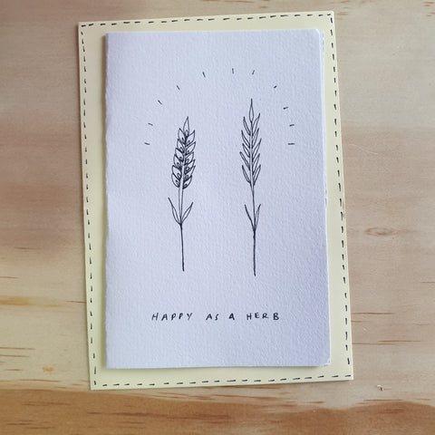 Happy as a Herb - Hand Drawn Card - Eat More Flowers