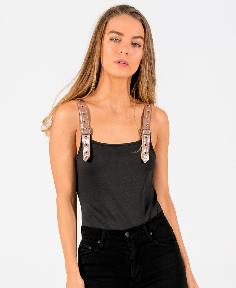 Buckle Up Black - Vegan Leather Strap Bodysuit