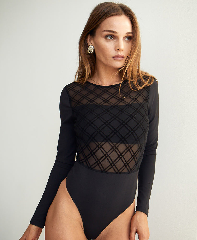 Majestic - Long Sleeve Bandeau Insert Bodysuit