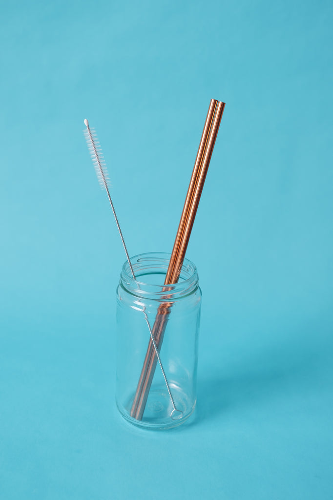 Rose Gold Straws Straight 3Pack