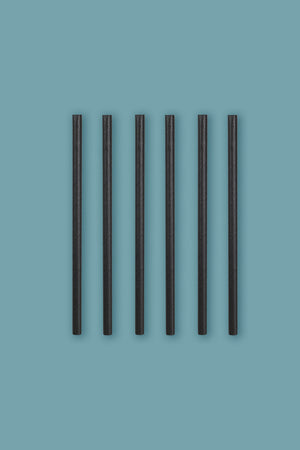 "SeaStraws Black Unwrapped Cocktail 5.75"" - Pack of 7000"
