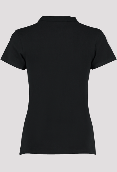 Back of Women's Black V Neck Corporate Top
