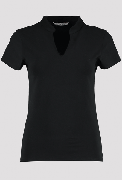 Front of Women's Black V Neck Corporate Top
