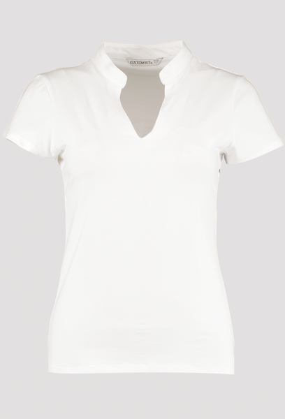 Front of Women's White V Neck Corporate Top