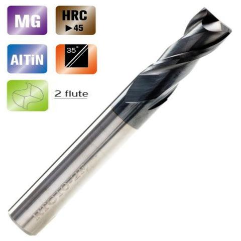 Solid Carbide 2 Flute End Mills Standard Length