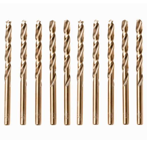 Box Of 10 x Cobalt Jobber Drills For Hard Metals & Stainless Steel