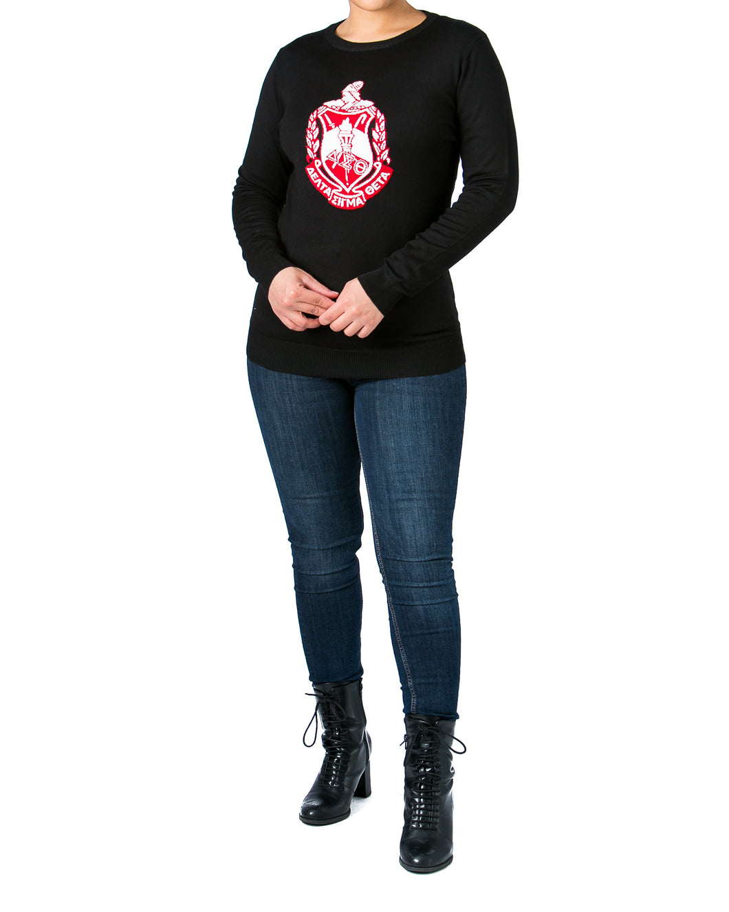 Red Friday Sale | Delta Black Crest Sweater