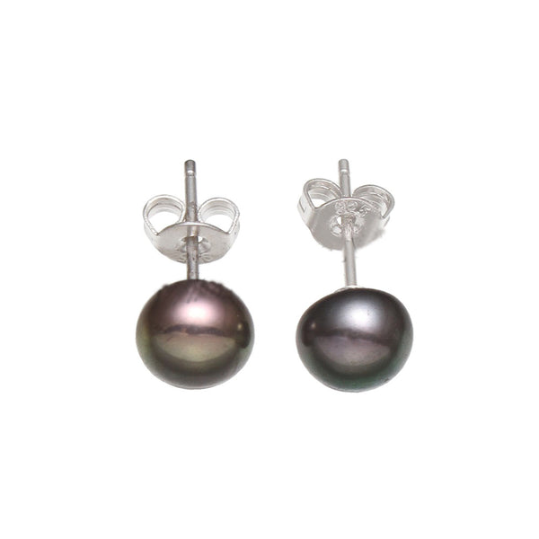 Freshwater Pearl Stud Earring with Brass Baroque 7-7.5mm Sold By Pair white pink  purple balck colors