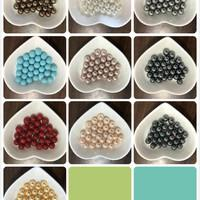 Round Shell Pearl Half Drilled 8MM 10 Colors