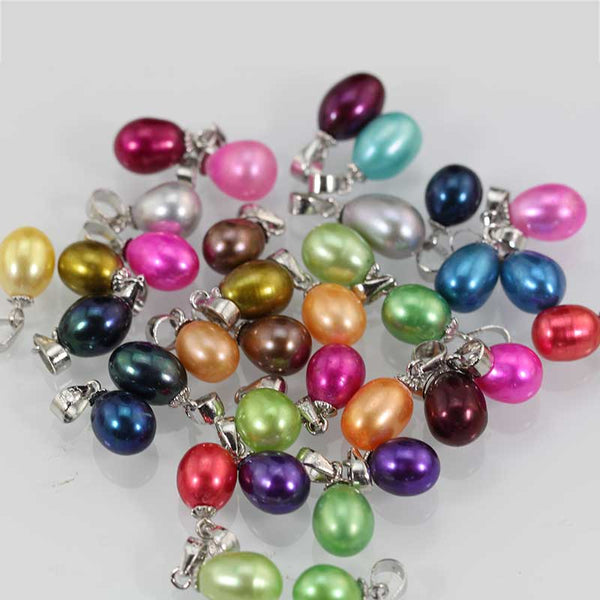 Culture oval pearl pendant,7-9 MM rice pearl pendant  25 colros hot sale