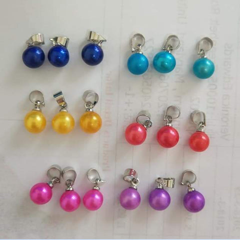 Round culture 6-8 MM pearl pendant,AAA freshwater dyed pearl pendant hot sale