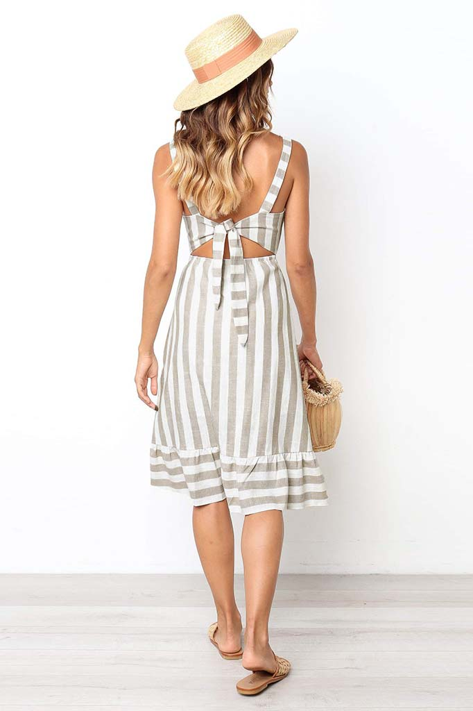 Casual Striped Stitching Back Bow Tie Cotton And Linen Dress