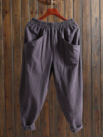 All Season Linen Pockets Solid Pure Color Pants