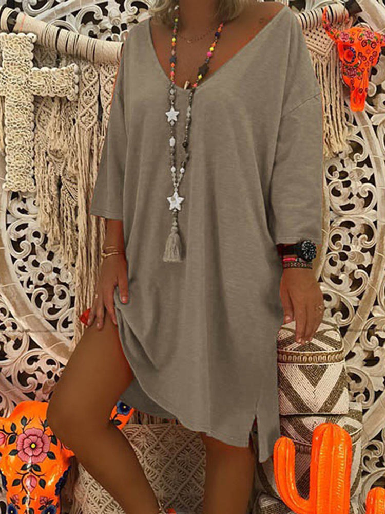 V-Neck  Solid Long Sleeve Casual Dresses