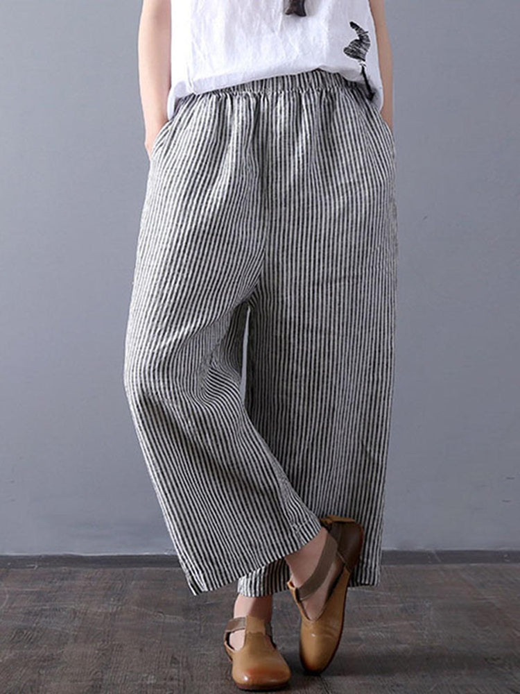 Plus Size Stripe Casual Pockets Shift Pants