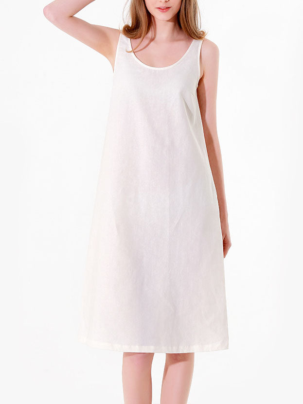 White Solid Sleeveless Vintage Cotton Dresses