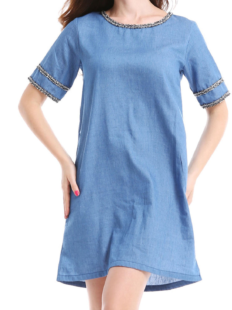 Blue Casual Denim Patchwork Crew neck Short Sleeve Mini Dress For Women