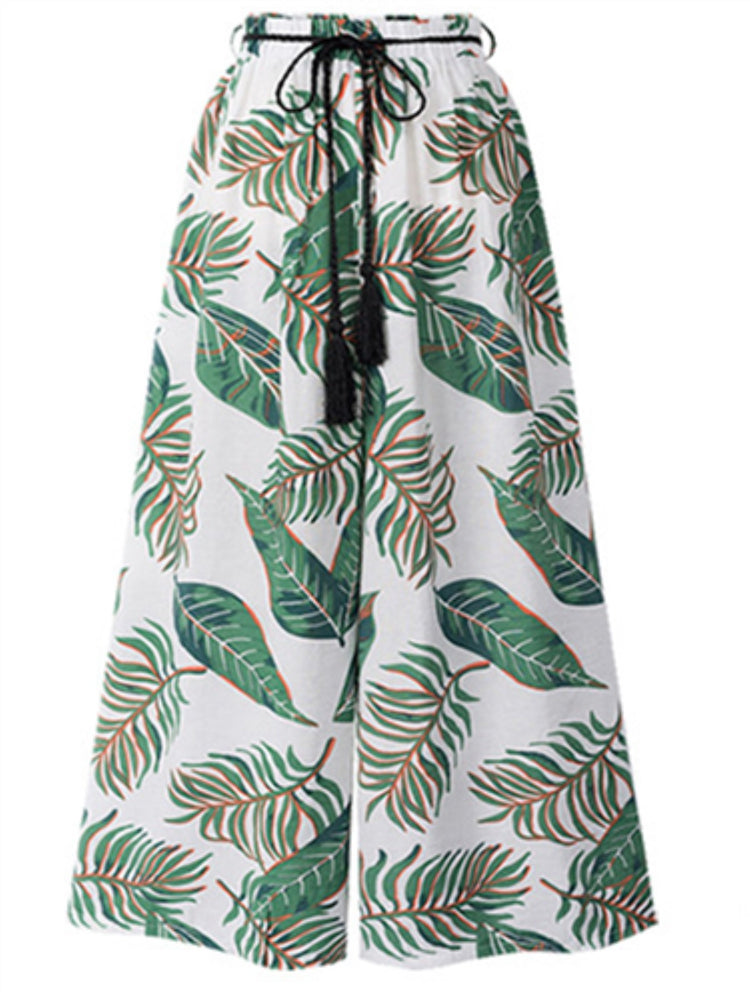 Plus Size Wide Leg Printed High Waist Loose Beach Pants