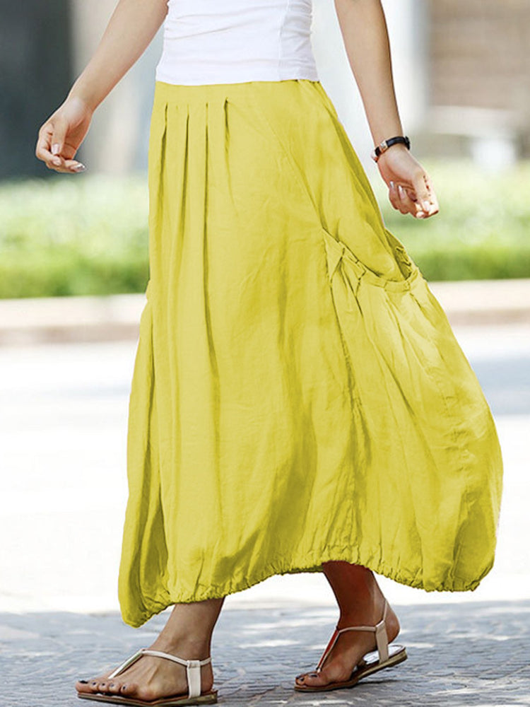 Pockets Pleated A-Line Plus Size Loose Skirts