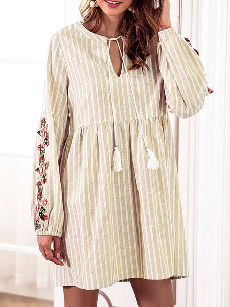 Women Daily Cotton Balloon Sleeve Casual Floral-embroidered Striped Fall Dress
