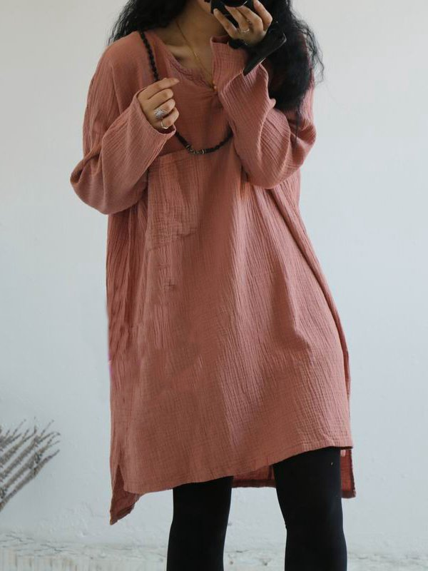 Long Sleeve Casual V Neck Linen&Cotton Dresses