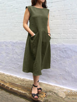 Crew Neck Women Double Pockets Dresses Shift Daily Dresses