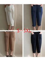 Women Shift Casual Cotton And Linen Check Pants