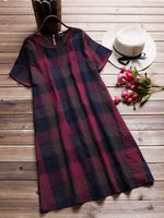 Women Short Sleeve Crew Neck Plaid Dress