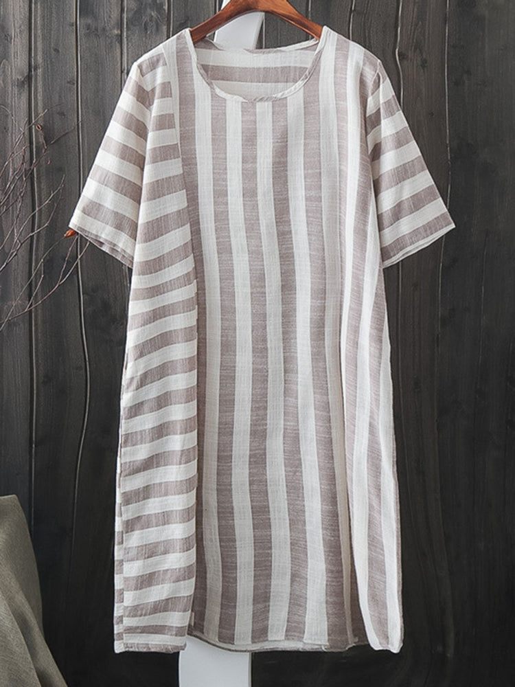 Women Dresses Shift Daily Linen Striped Dresses