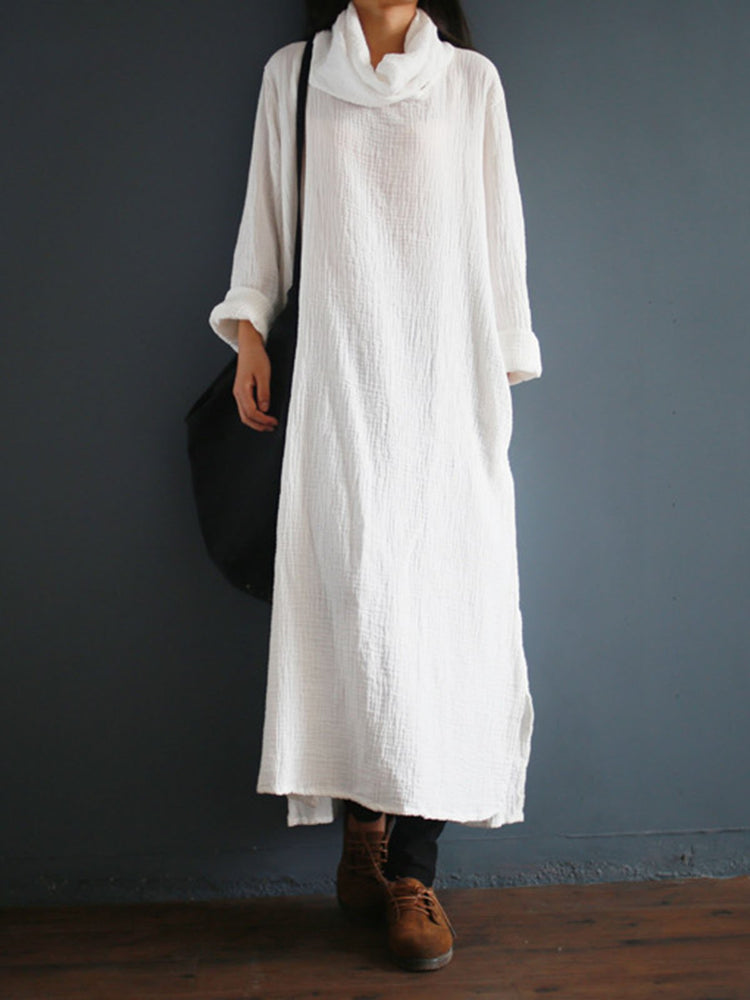 Cowl Neck Women Dresses Shift Daily Cotton-Blend Plain Dresses
