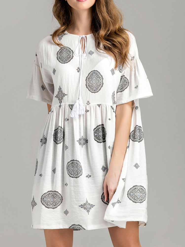 Plus Size Women Floral Printed Loose Linen Dresses