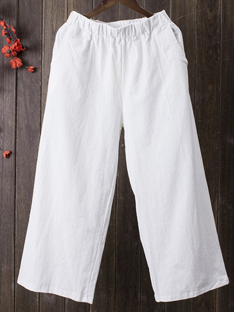 Pockets Solid Casual Linen Pants