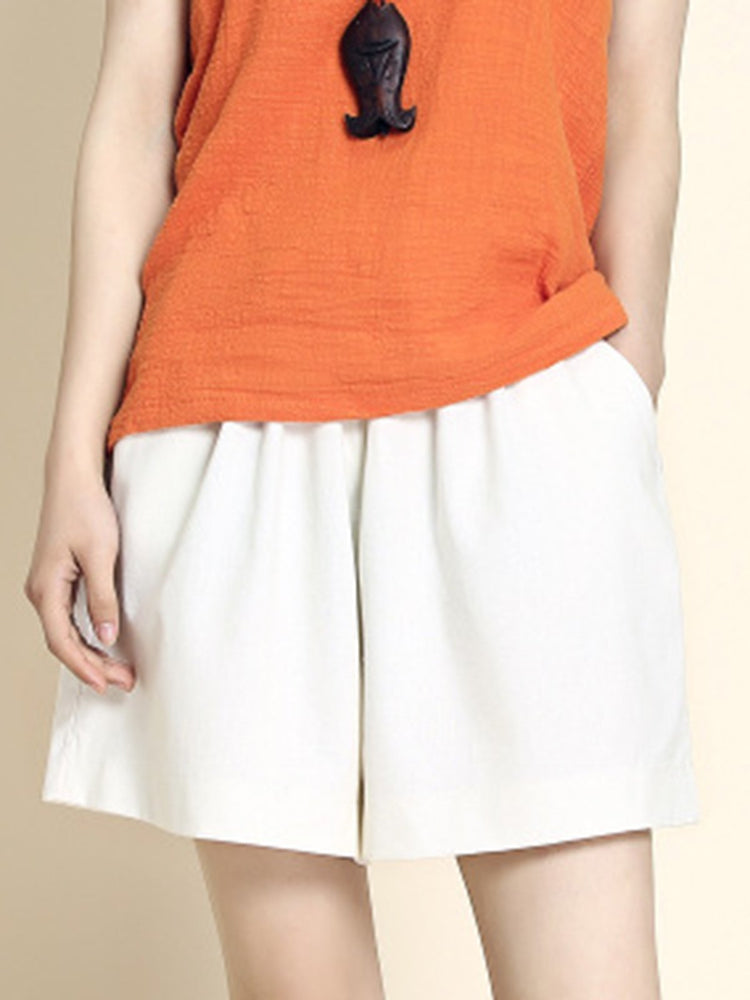 Summer Pockets Drawstring Solid Casual Shorts