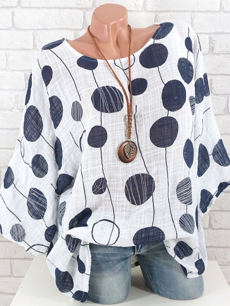 Half Sleeve Crew Neck Cotton-Blend Blouses